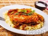 Пилешки гърди със зелечуци и кускус